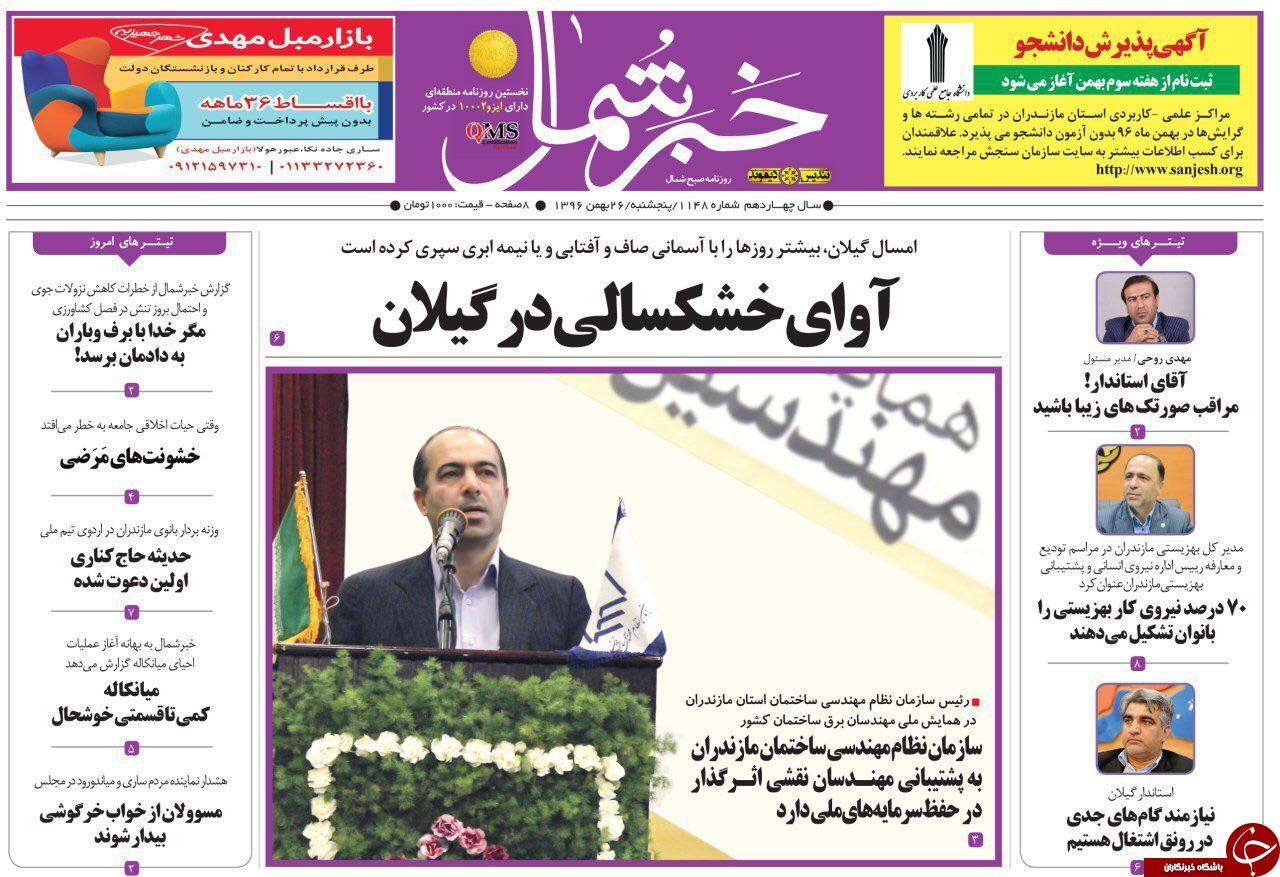 صفحه نخست روزنامههای مازندران پنج شنبه ۲۶ بهمن ماه