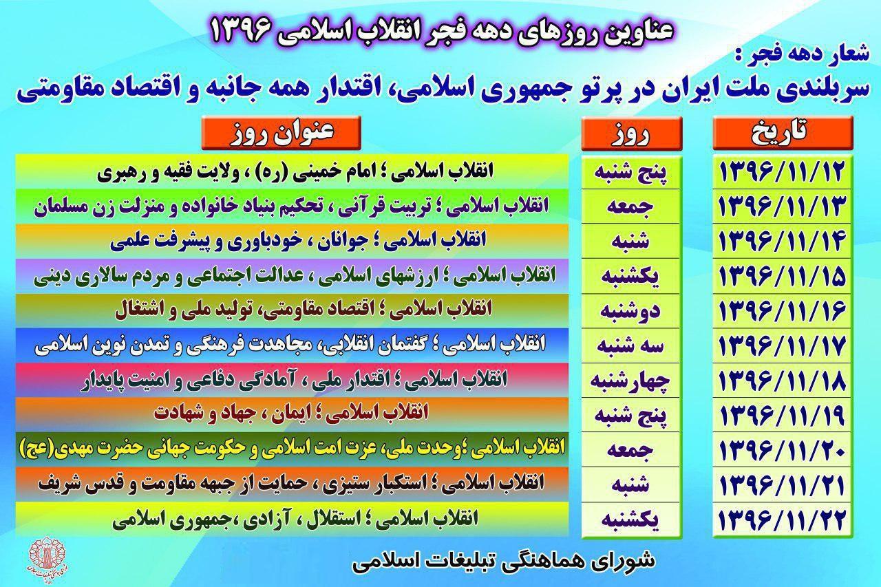 عناوین ایامالله دهه فجر انقلاب اسلامی سال 96 اعلام شد