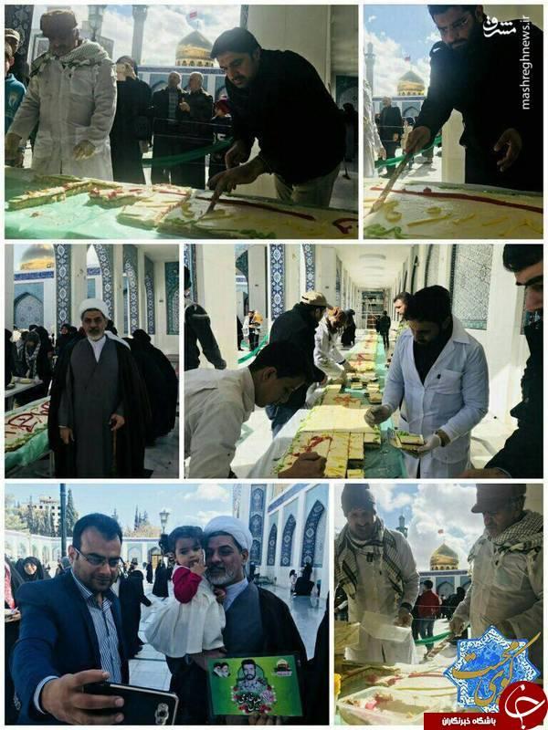 تصویری از کیک 69متری درحرم حضرت زینب