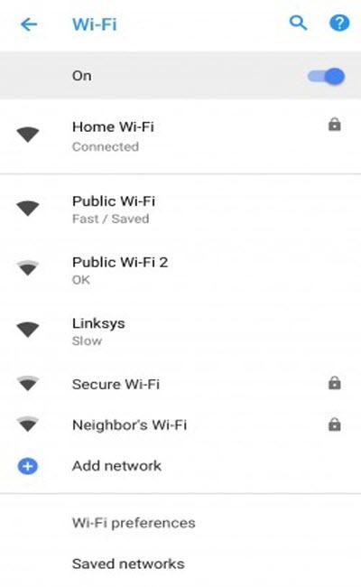 اضافه شدن برچسب سرعت وای فای عمومی به اندروید 8.1