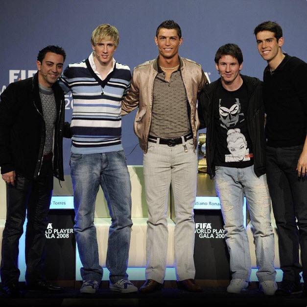 تیپ جالب ستارگان فوتبال در مراسم توپ طلا 10 سال پیش +عکس