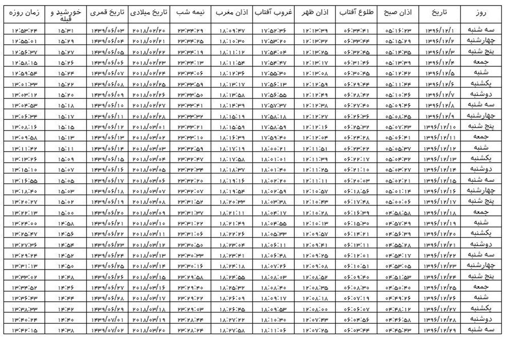 اوقات شرعی شیراز در اسفندماه سال ۱۳۹۶