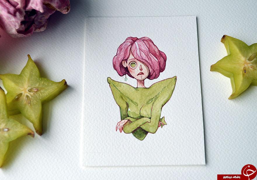 ترکیب جالب نقاشی با میوه های واقعی