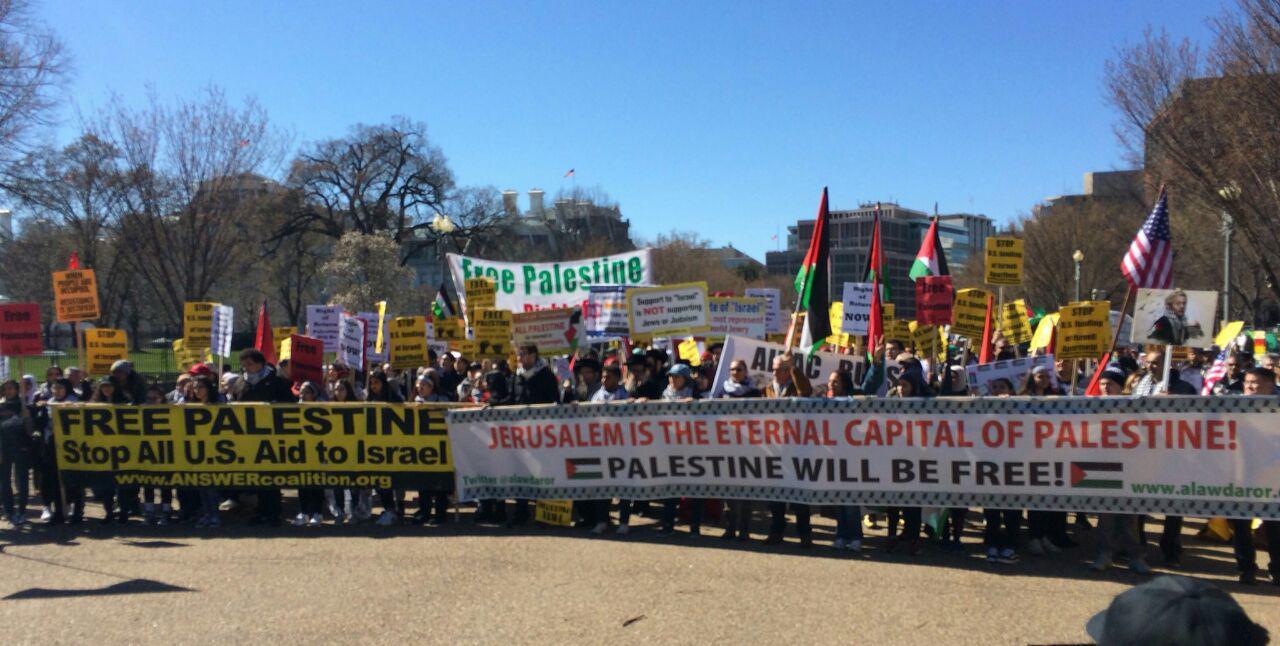 برگزاری تظاهرات در مقابل کاخ سفید در اعتراض به نشست آیپک