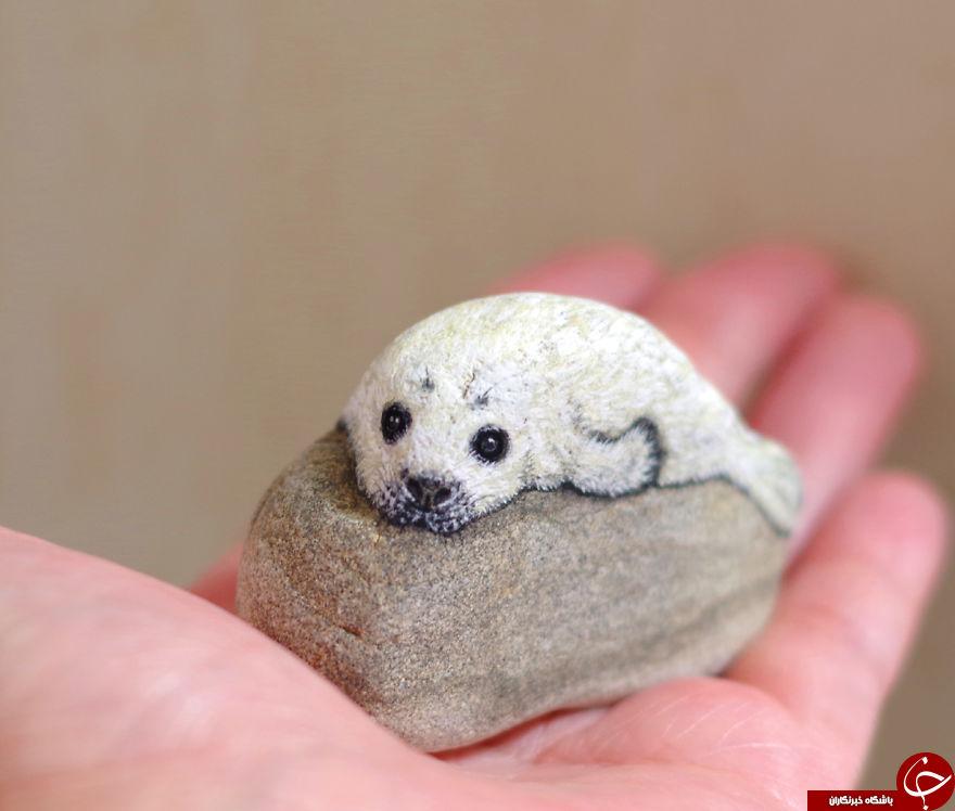 نمونه هایی زیبا از هنر نقاشی روی سنگ