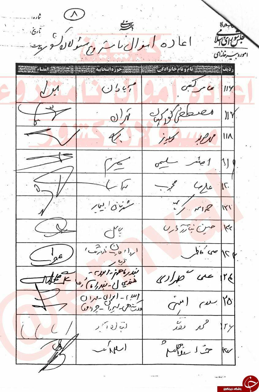 اسامی نمایندگان امضاکننده طرح اعاده اموال نامشروع مسئولان منتشر شد