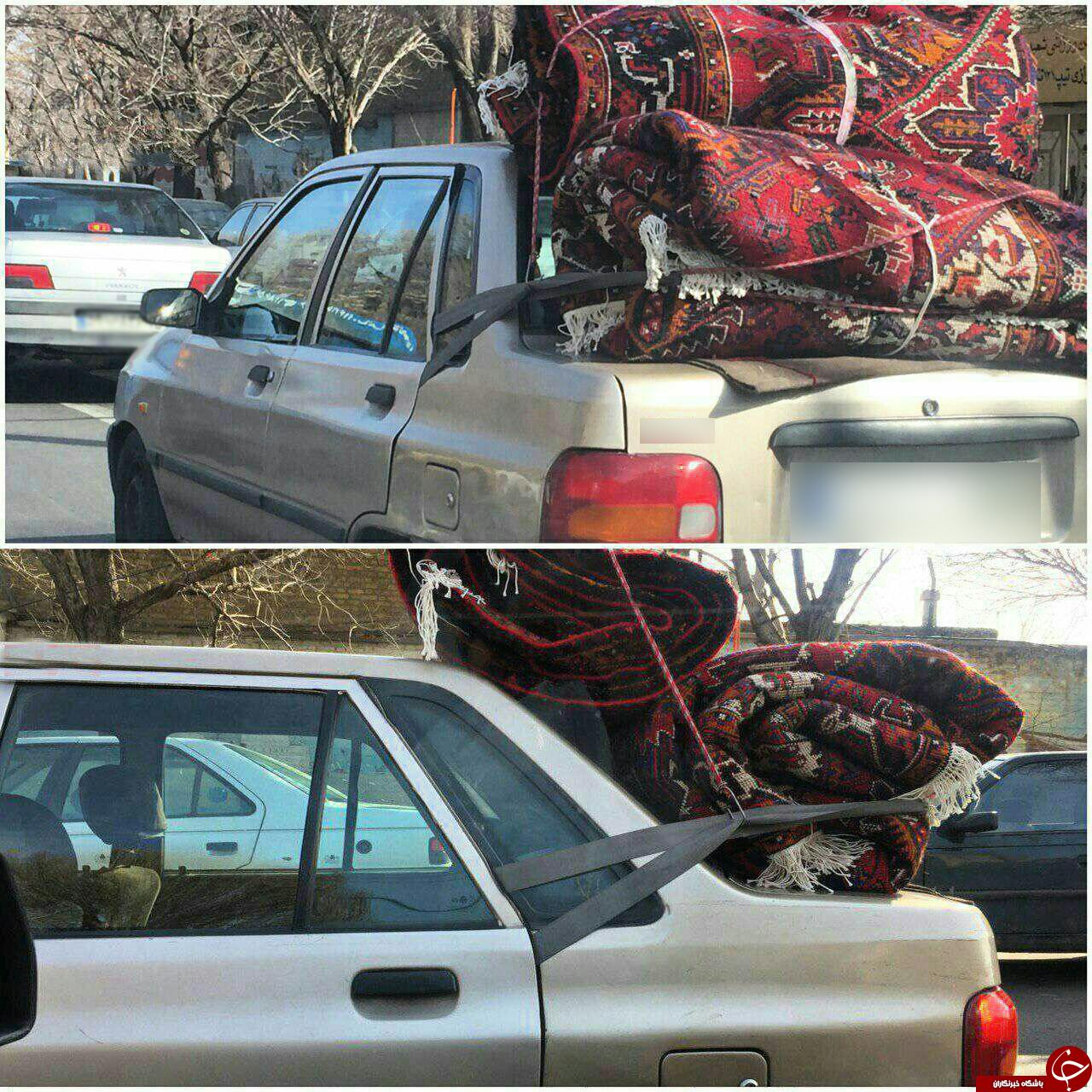 عجیبترین استفاده ممکن از کمربند ایمنی صندلی عقب پراید+عکس+عکس