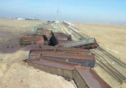 واژگونی قطار باری در ایستگاه دیزباد + فیلم و تصاویر