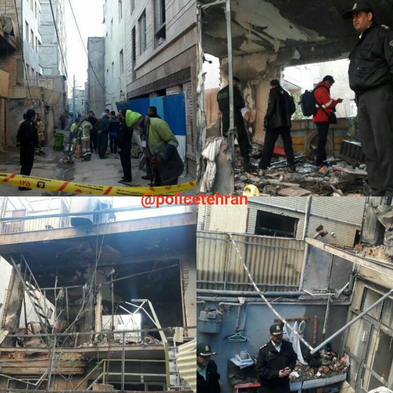تخریب یک ساختمان دو طبقه براثر انفجار مواد محترقه