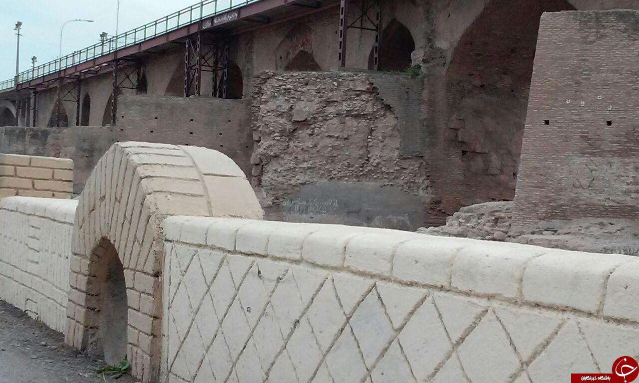 تخریب شدن پل تاریخی در دزفول + تصاویر