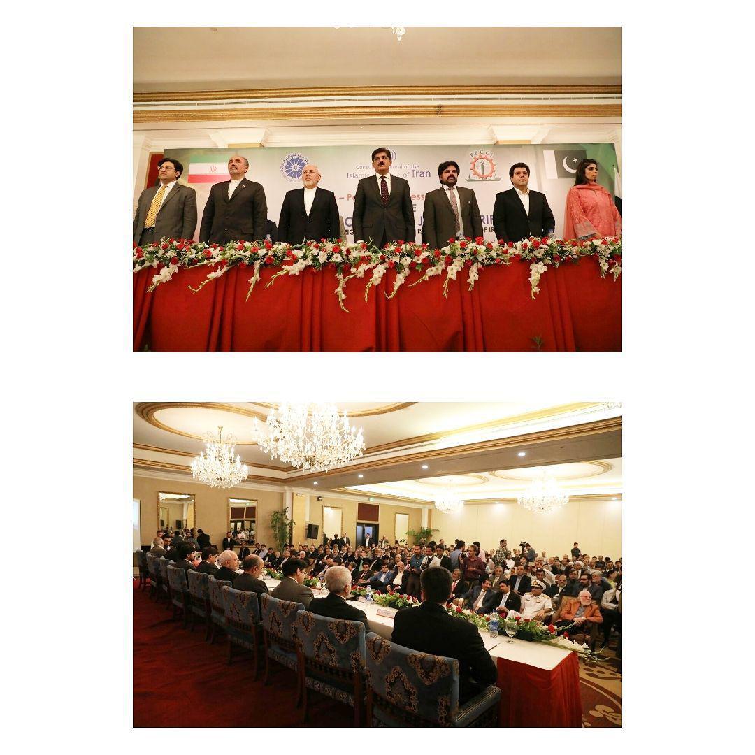 ادای احترام ظریف به محمد علی جناح و افتتاح مجمع تجاری ايران و پاكستان