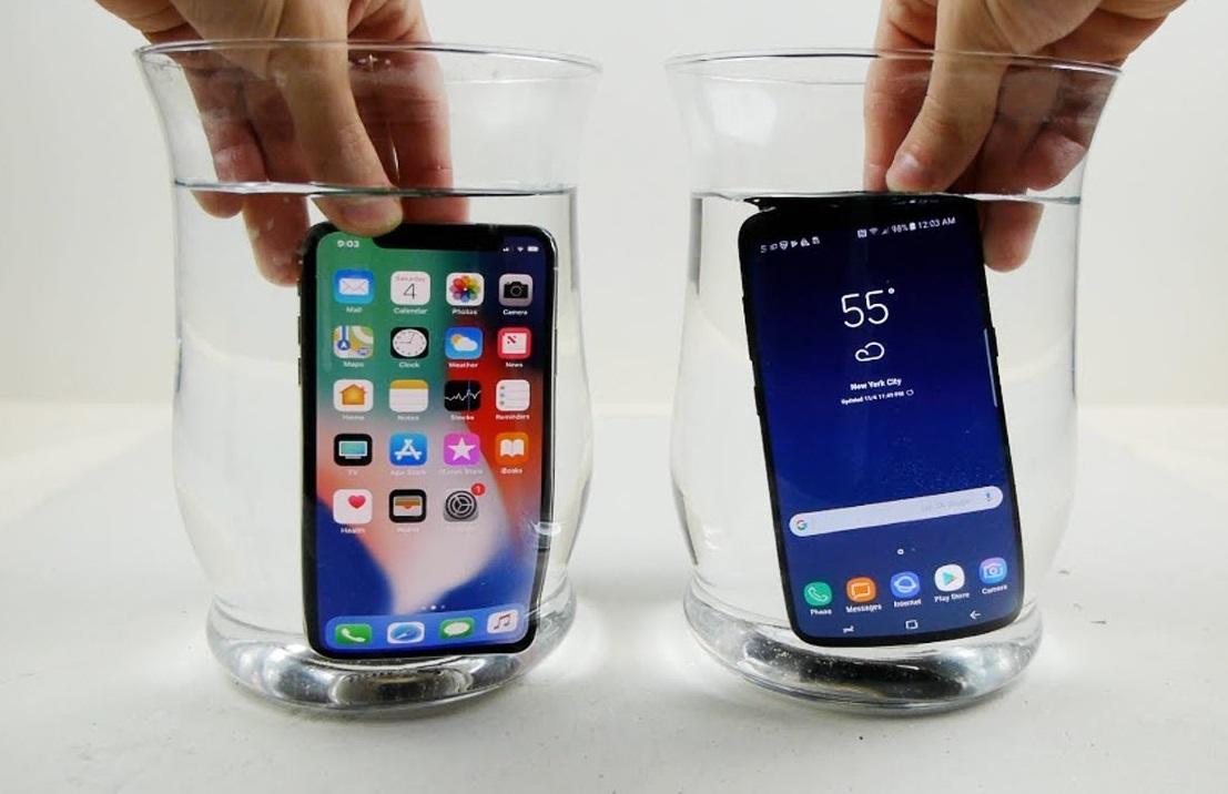 تست مقاومت دو گوشی گلکسی S9 و آیفون X در برابر آب +فیلم
