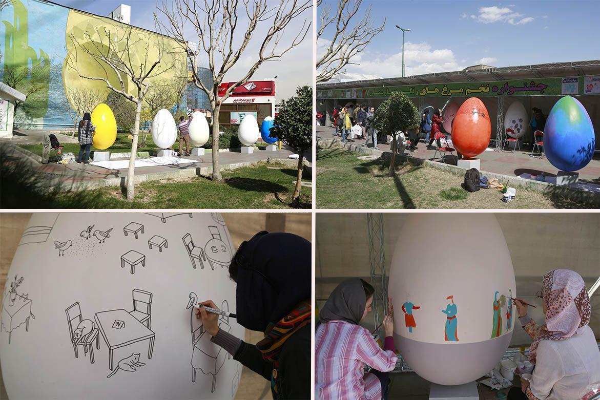 میدان صادقیه به تخم مرغ های نوروزی مزین شد
