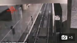 صحنه عجیبی که توسط  دوربین مداربسته ایستگاه قطار ضبط شد! +فیلم