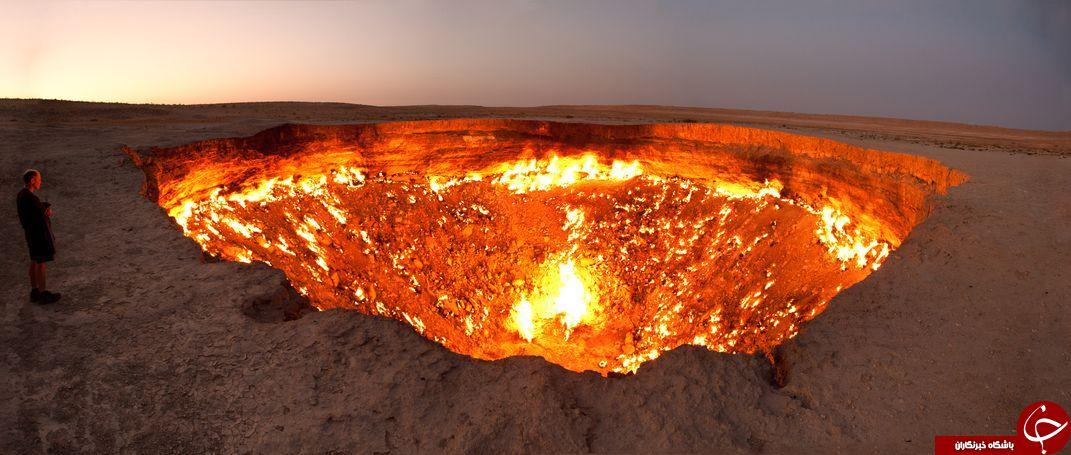 دروازه جهنم؛ حفره وحشتناکی که از گذشته تاکنون بی وقفه میسوزد+تصاویر