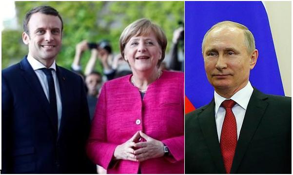 مکرون و مرکل درباره طرح آتش بس در سوریه با پوتین گفتگو میکنند