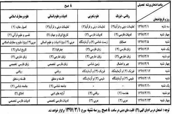 تاریخ امتحانات نهایی خردادماه اعلام شد
