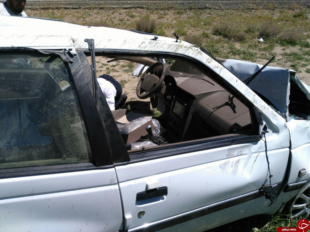 واژگونی هولناک پژو 405 / ایربگ خودرو عمل نکرد! + فیلم وتصاویر