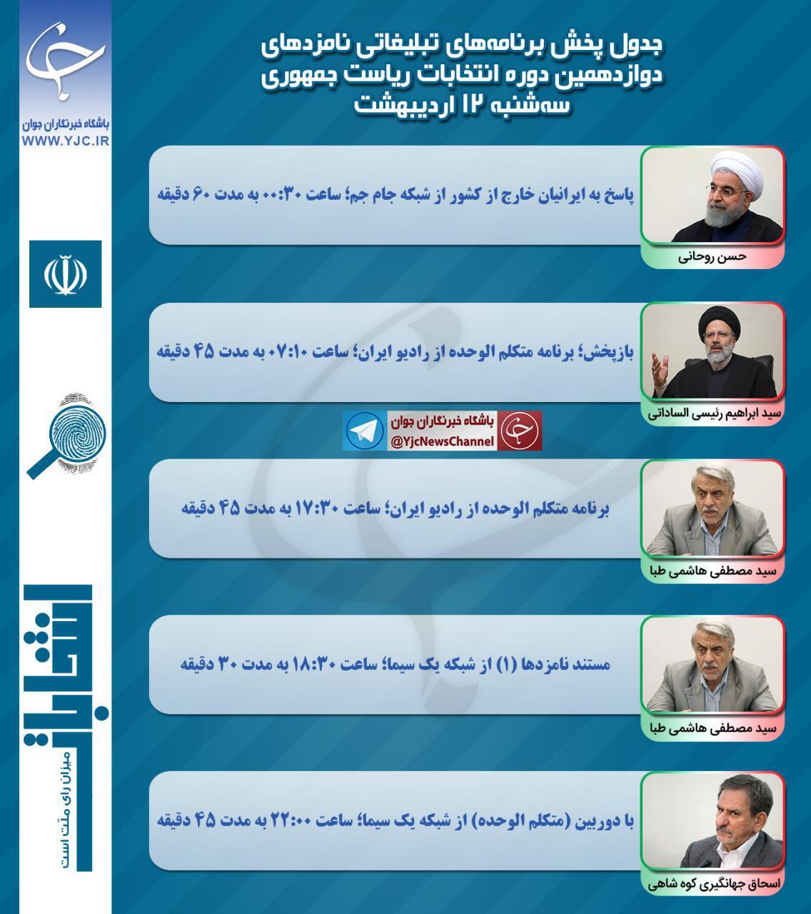 برنامههای امروز (۱۲ اردیبهشت) نامزدهای ریاست جمهوری در صداوسیما