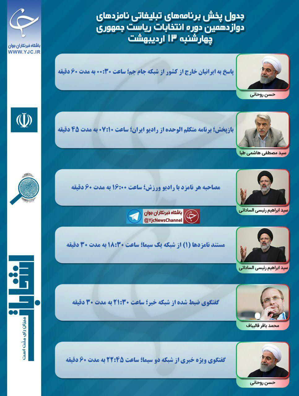 برنامه نامزدهای انتخابات ریاست جمهوری در رسانه ملی در سیزدهمین روز اردیبهشت