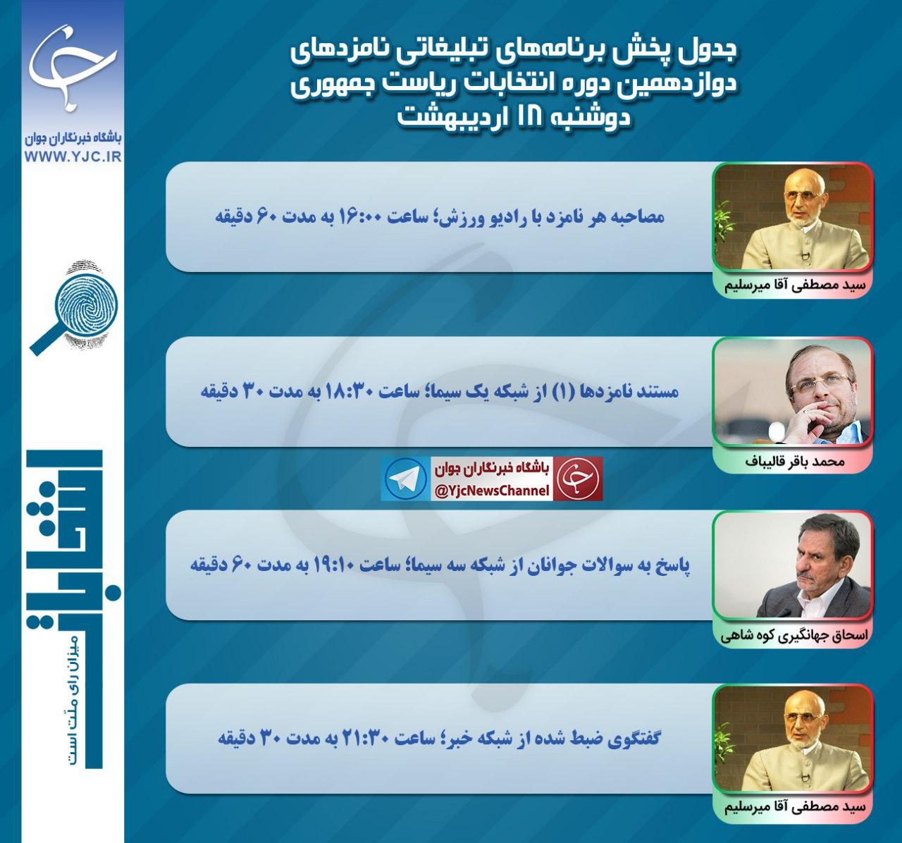 برنامه نامزدهای انتخابات ریاست جمهوری در رسانه ملی در هجدهمین روز اردیبهشت