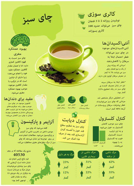6 / چای سبز خورها بخوانند + اینفوگرافی