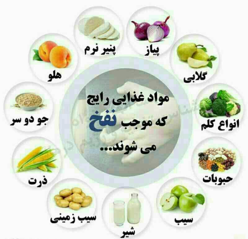 مواد غذایی رایج که موجب نفخ میشوند + اینفوگرافی