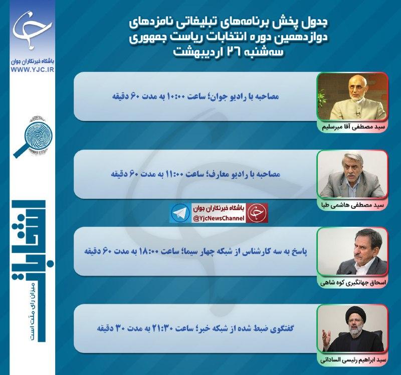 برنامه نامزدهای انتخابات ریاست جمهوری در رسانه ملی در بیست و ششمین روز اردیبهشت