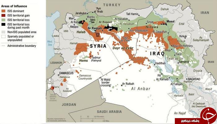 از دست رفتن قلمرو داعش در سوریه و عراق+ نقشه