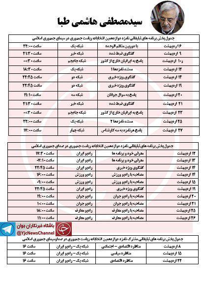 جدول پخش برنامه های رادیویی و تلوزیونی کاندیداهای انتخابات ریاست جمهوری