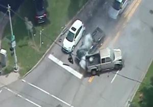 تصادف راننده متخلف پس از تعقیب و گریز با پلیس + فیلم