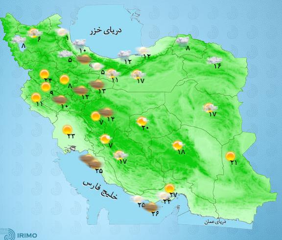 وضعیت آب و هوای 6 اردیبهشت/ تداوم فعالیت سامانه بارشی بر کشور+جدول