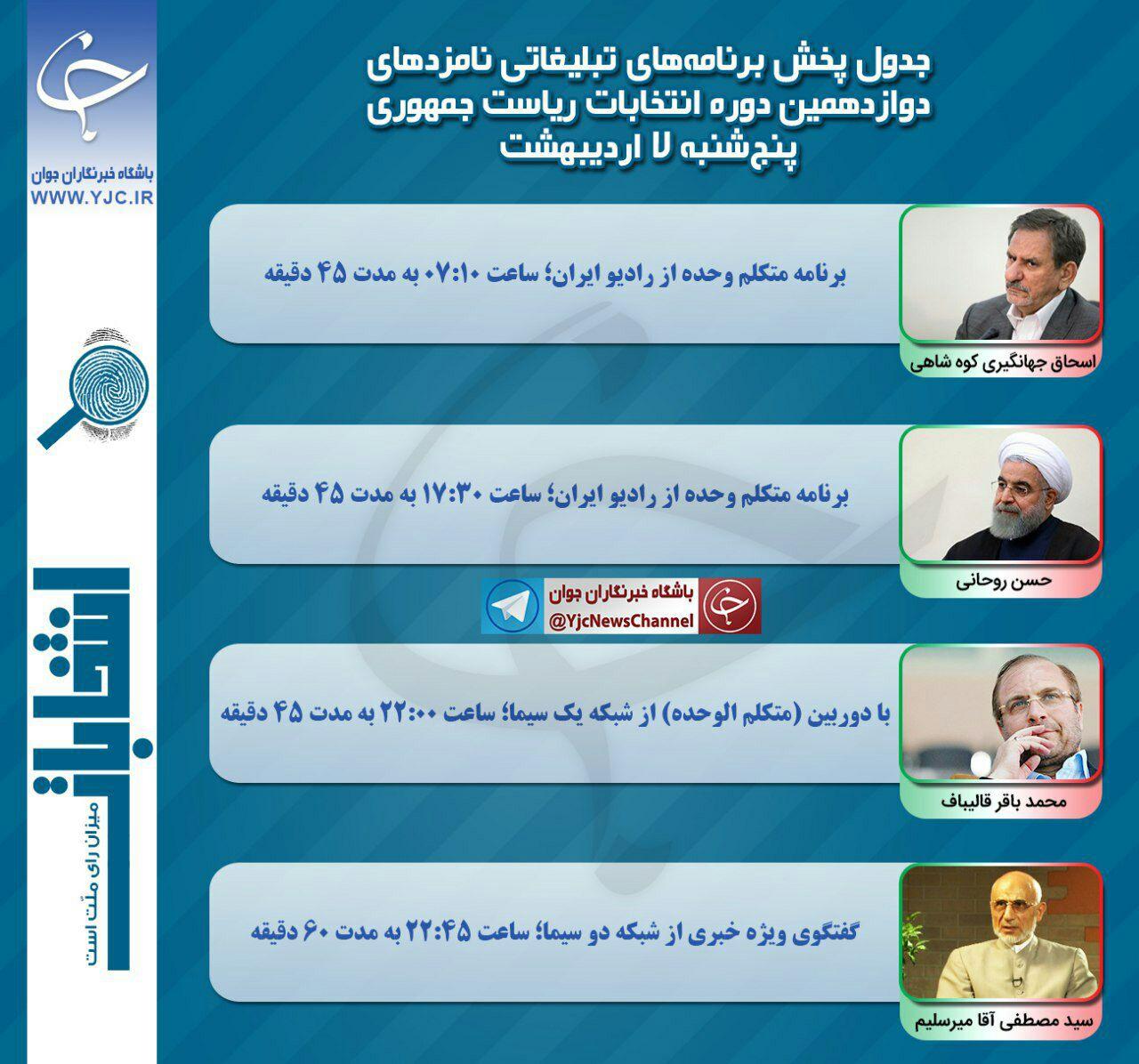 برنامه امروز نامزدهاي رياست جمهوري در صدا و سيما