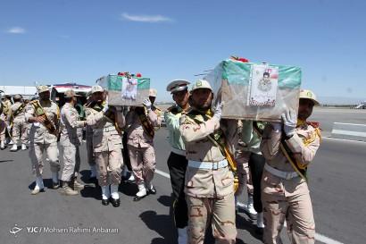 باشگاه خبرنگاران -مراسم استقبال از شهدای مرزبانی در فرودگاه مشهد