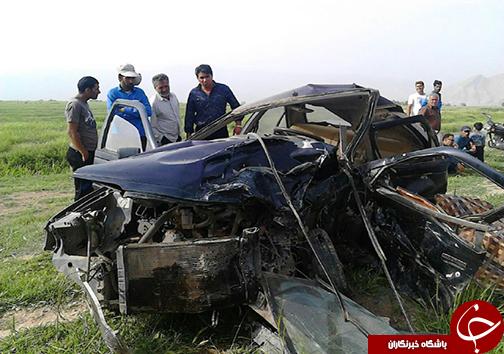 5 کشته و مصدوم در تصادف محور رامجرد - اقلید + تصاویر