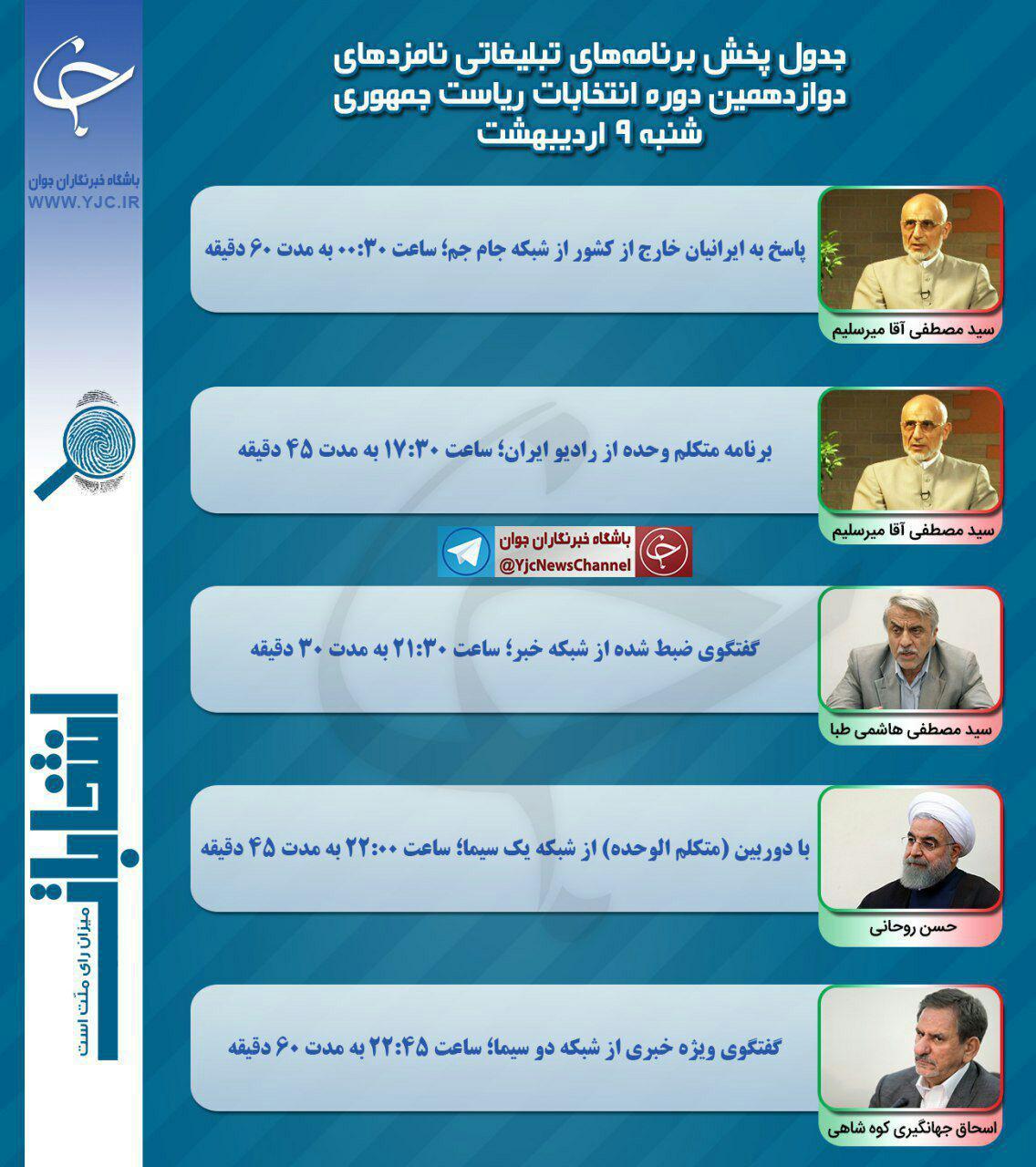 شنبه برنامه نامزدهاي رياست جمهوري در صدا و سيما