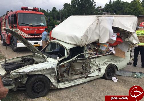 تصادف خودرو در محور کیاسر بدون تلفات جانی