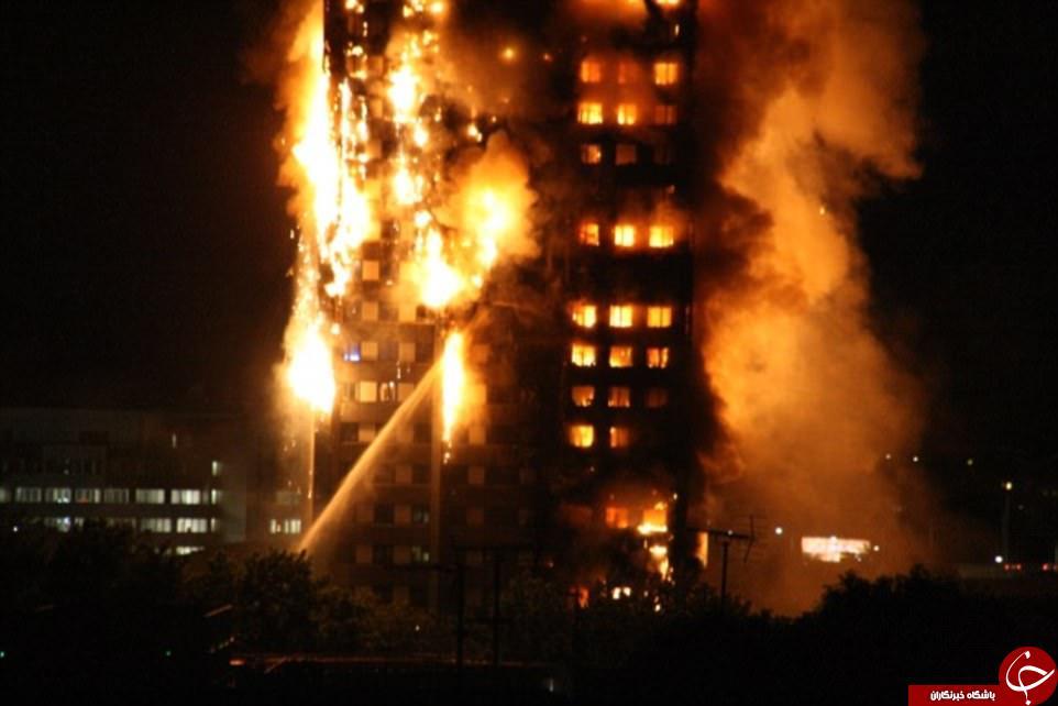 آتشسوزی در برجی مسلماننشین در لندن+ تصاویر