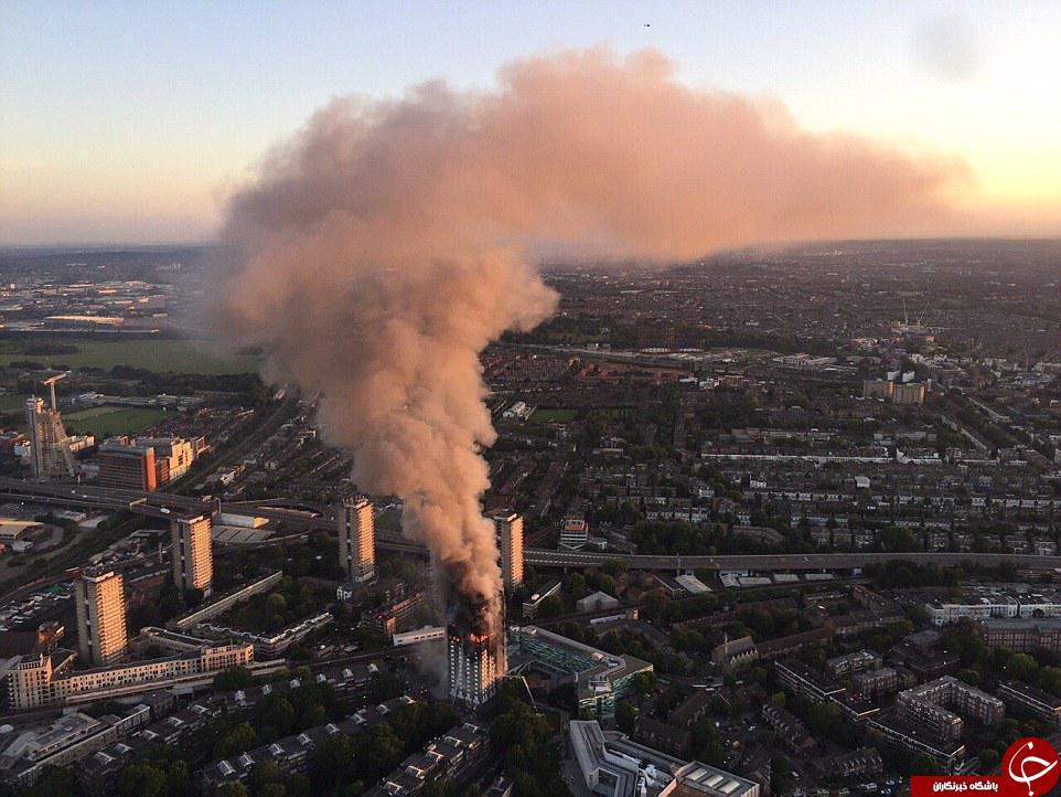 آتشسوزی گسترده در برج مسلماننشین لندن/ احتمال فروریختن ساختمان وجود دارد+ تصاویر و فیلم