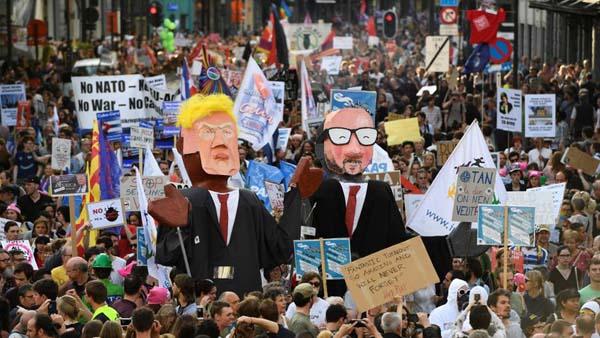 تظاهرات گسترده در بروکسل علیه ترامپ