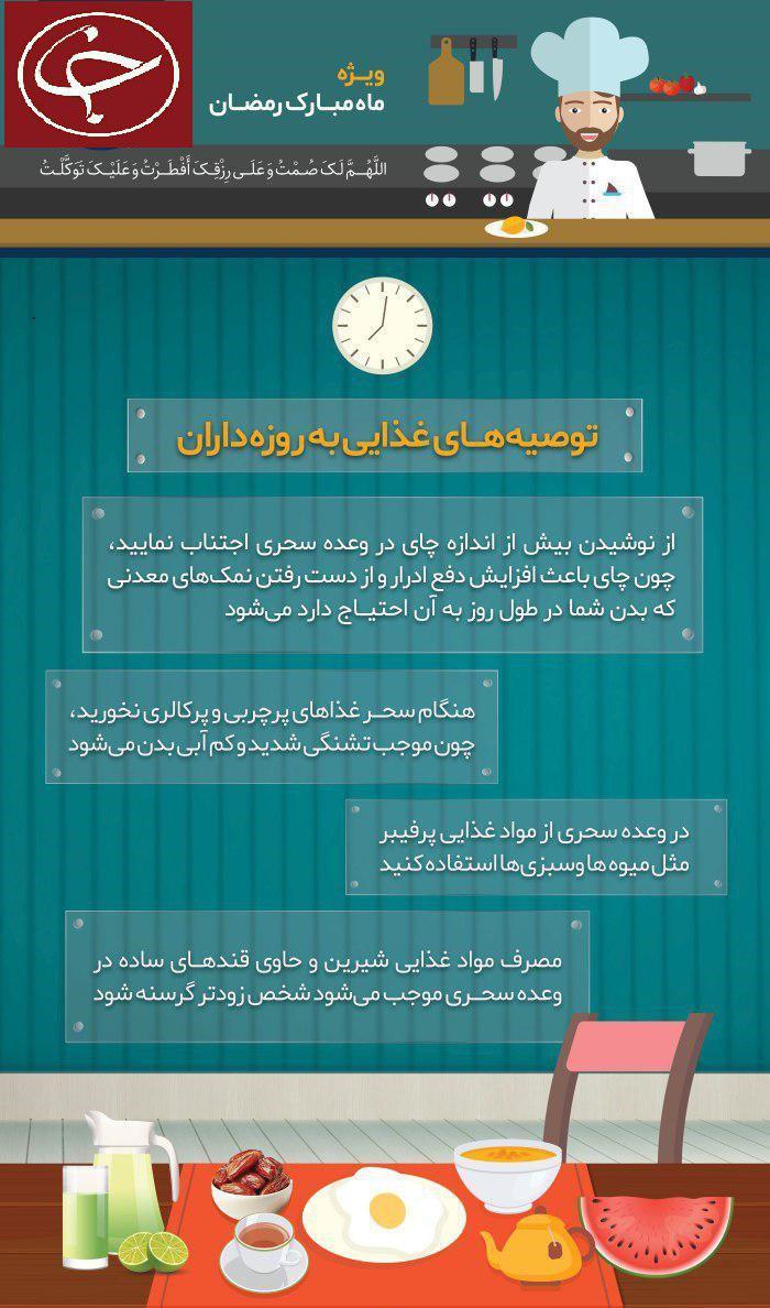 توصیههای تغذیهای در ماه رمضان + اینفوگرافی