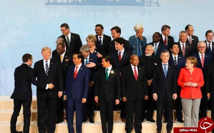وقتی رئیس جمهور فرانسه سران کشورها را هُل می دهد تا در کنار ترامپ عکس بگیرد!+ تصاویر////////////////