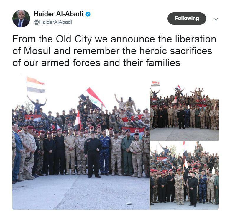حیدر عبادی به طور رسمی در موصل اعلام پیروزی کرد+تصاویر و توییت