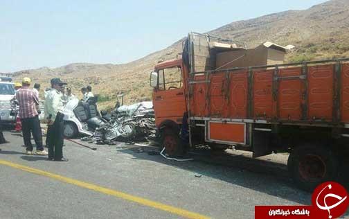 ۷ کشته در تصادف پراید با خاور در محور قوچان باجگیران+ تصاویر