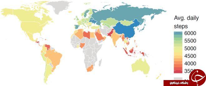 تنبل ترین و سخت کوش ترین مردم جهان در کدام کشورها زندگی می کنند+ نقشه