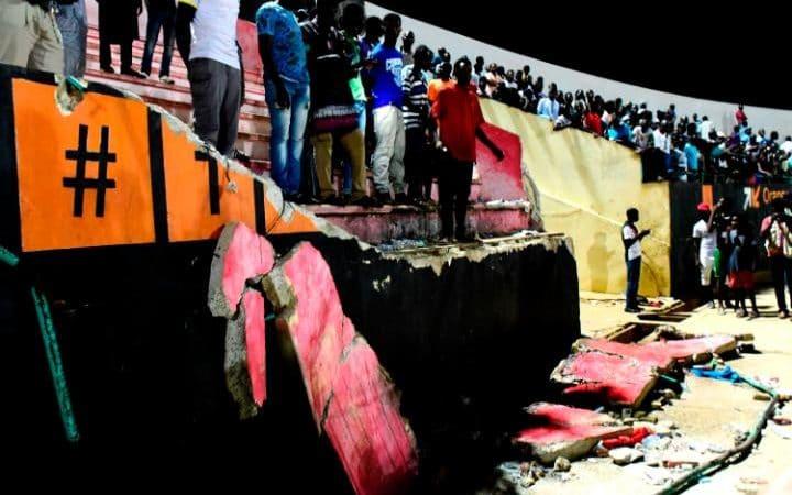 ریزش دیوار ورزشگاه، 60 کشته و زخمی بر جای گذاشت + عکس