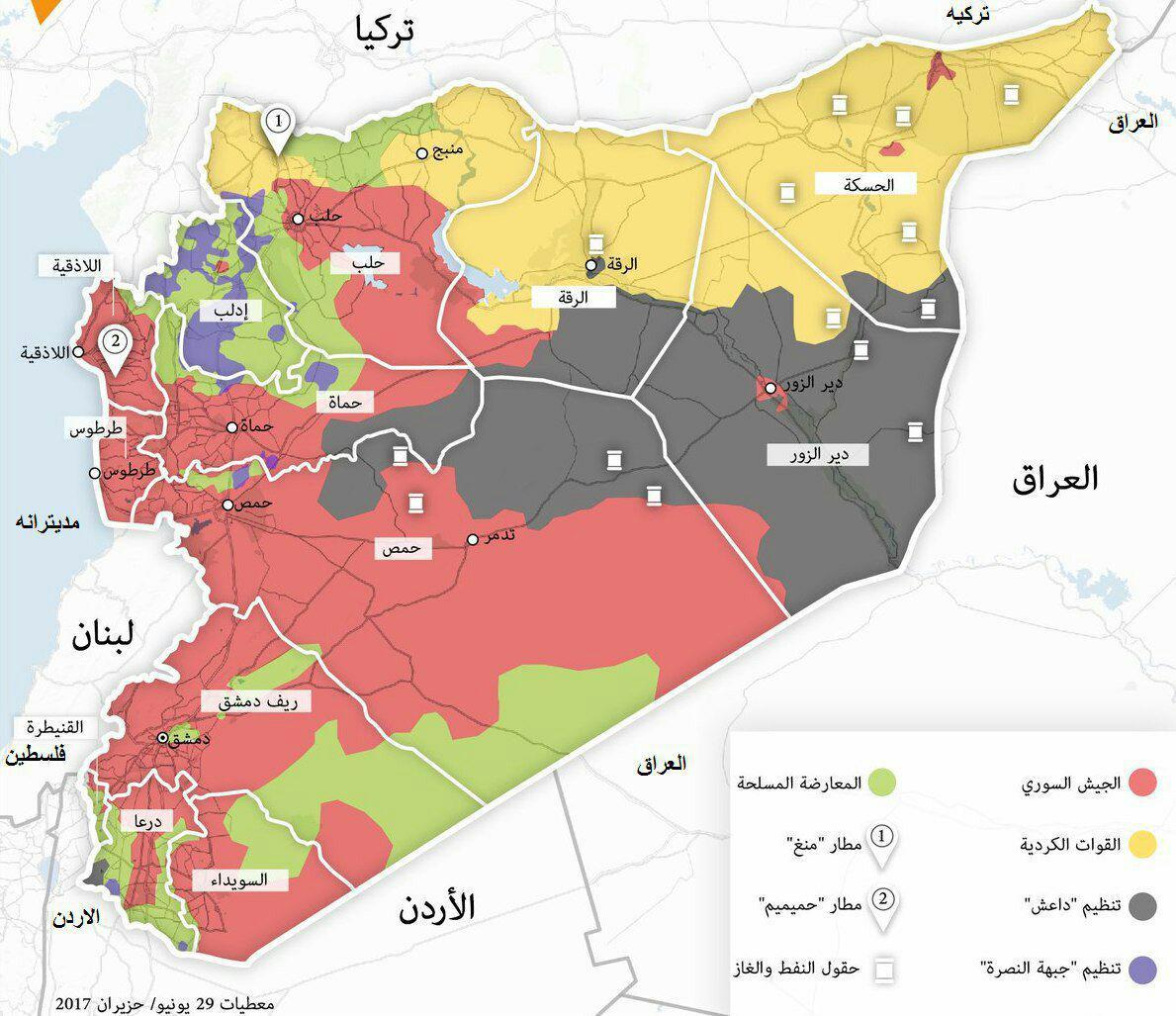 چند درصد از خاک سوریه در کنترل ارتش سوریه و حزبالله است؟ + تقشه و جزییات