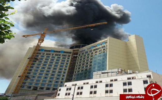 هتل ۲۰ طبقه در خیابان امام رضا (ع) مشهد طعمه حرق شد+تصاویر