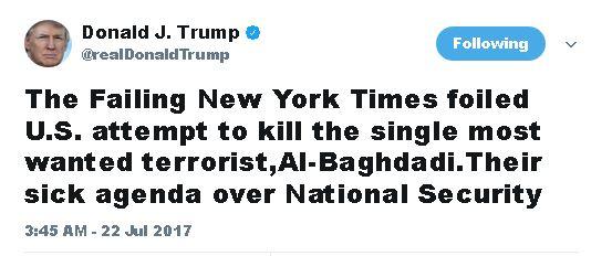 حمله توئیتری ترامپ به نیویورک تایمز+توئیت
