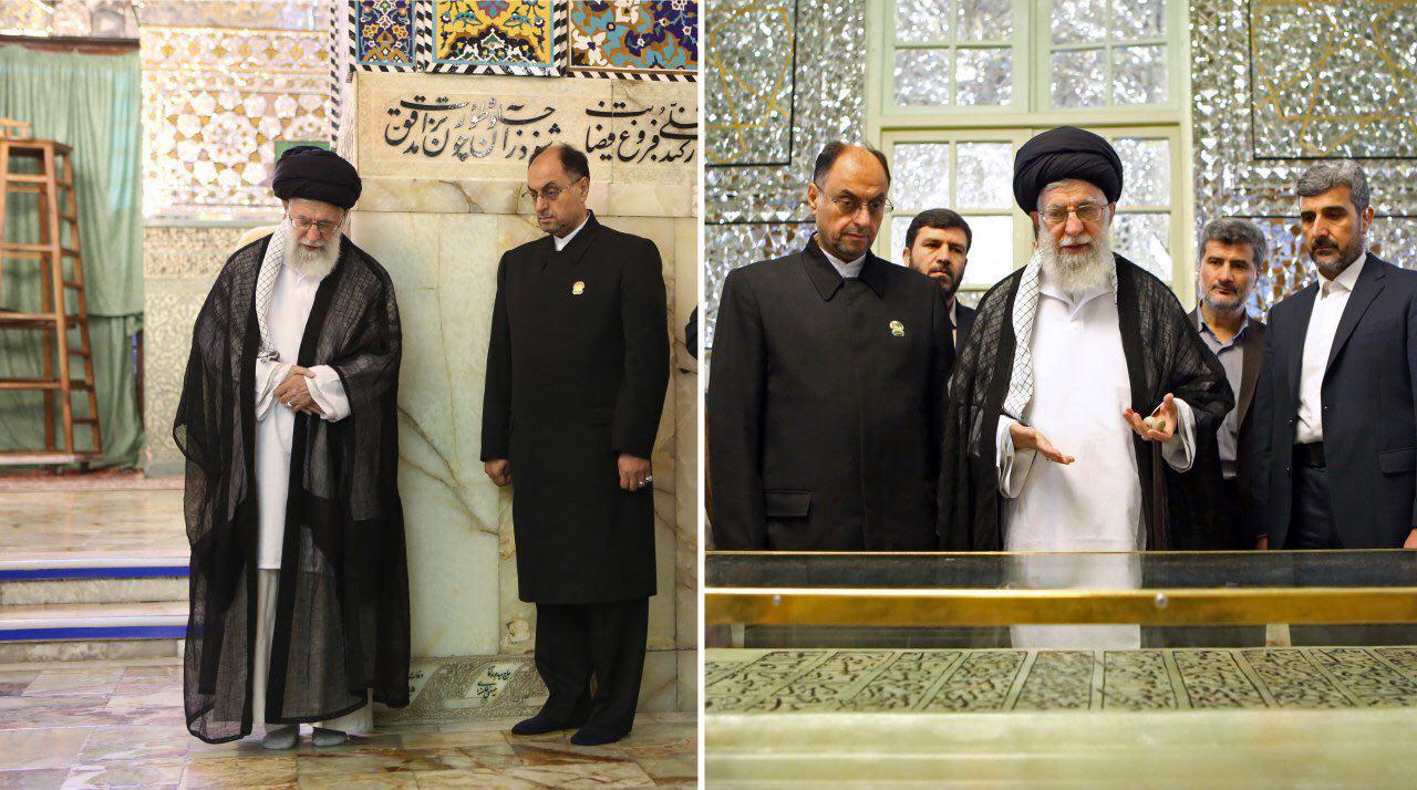 حضور رهبر انقلاب بر سر مزار پدرشان و شیخ بهایی+ عکس